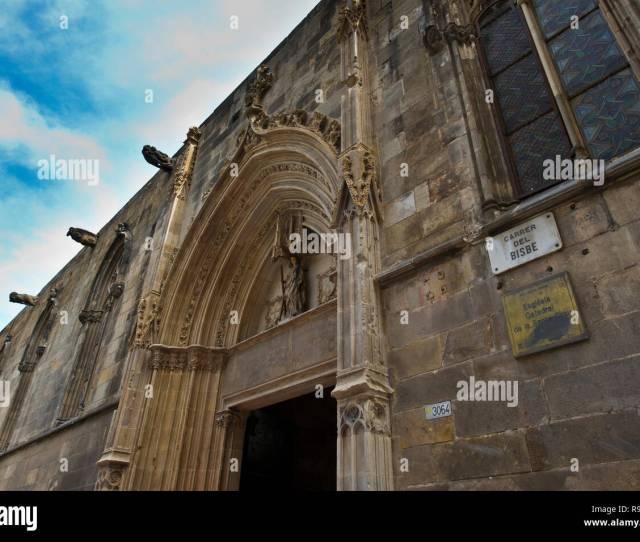 The Exterior Of Santa Creu Church In The Gothic Quarter Barcelona Spain