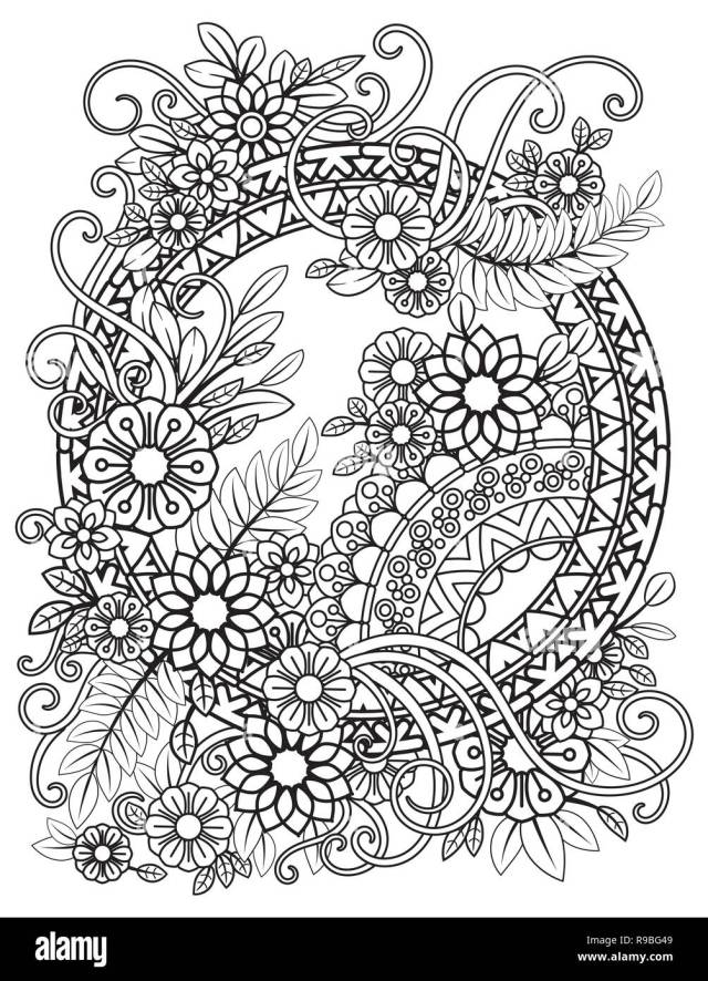 Adult coloring page with flowers pattern. Black and white floral