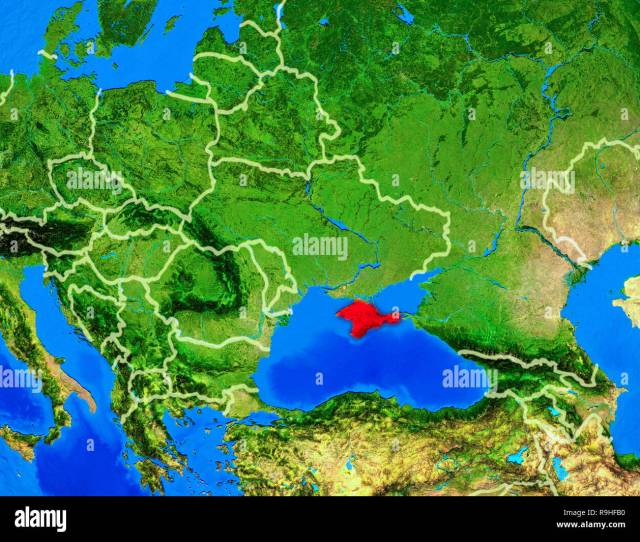 Crimea From Space On Model Of Planet Earth With Country Borders And Very Detailed Planet Surface 3d Illustration Elements Of This Image Furnished By