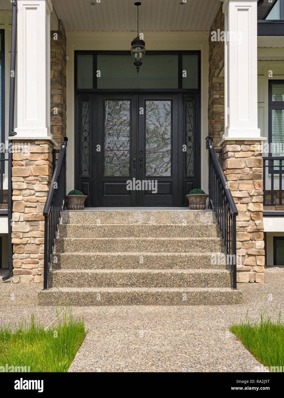 Main Entrance Of Residential House With Door Steps And Flower Pots | House Entrance Steps Designs | Contemporary | Side Entrance | House Main Gate Roof | Duplex House | Ultra Modern Modern Front