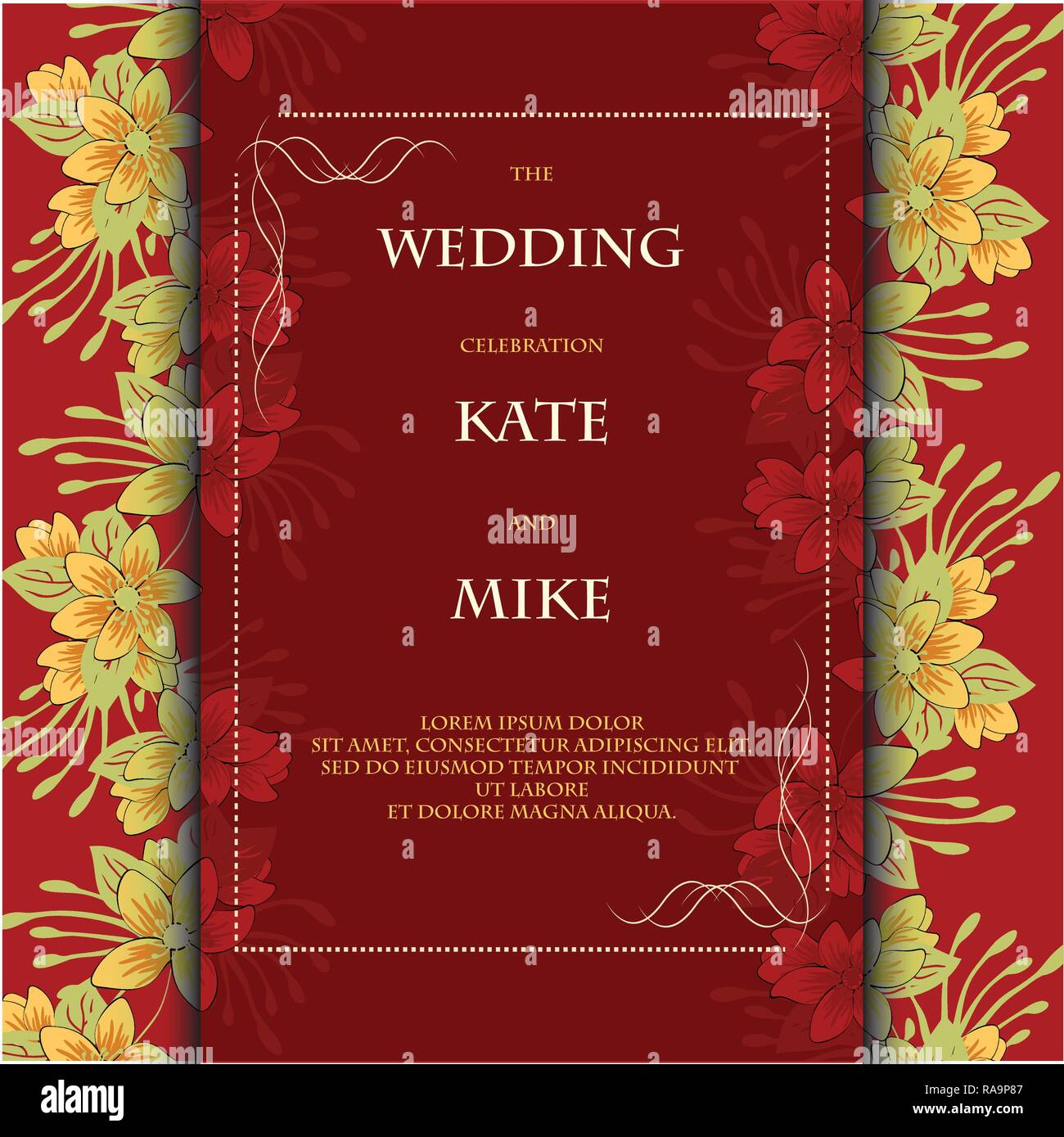 https www alamy com wedding invitation card template with flower floral background vector illustration eps 10 image230096391 html