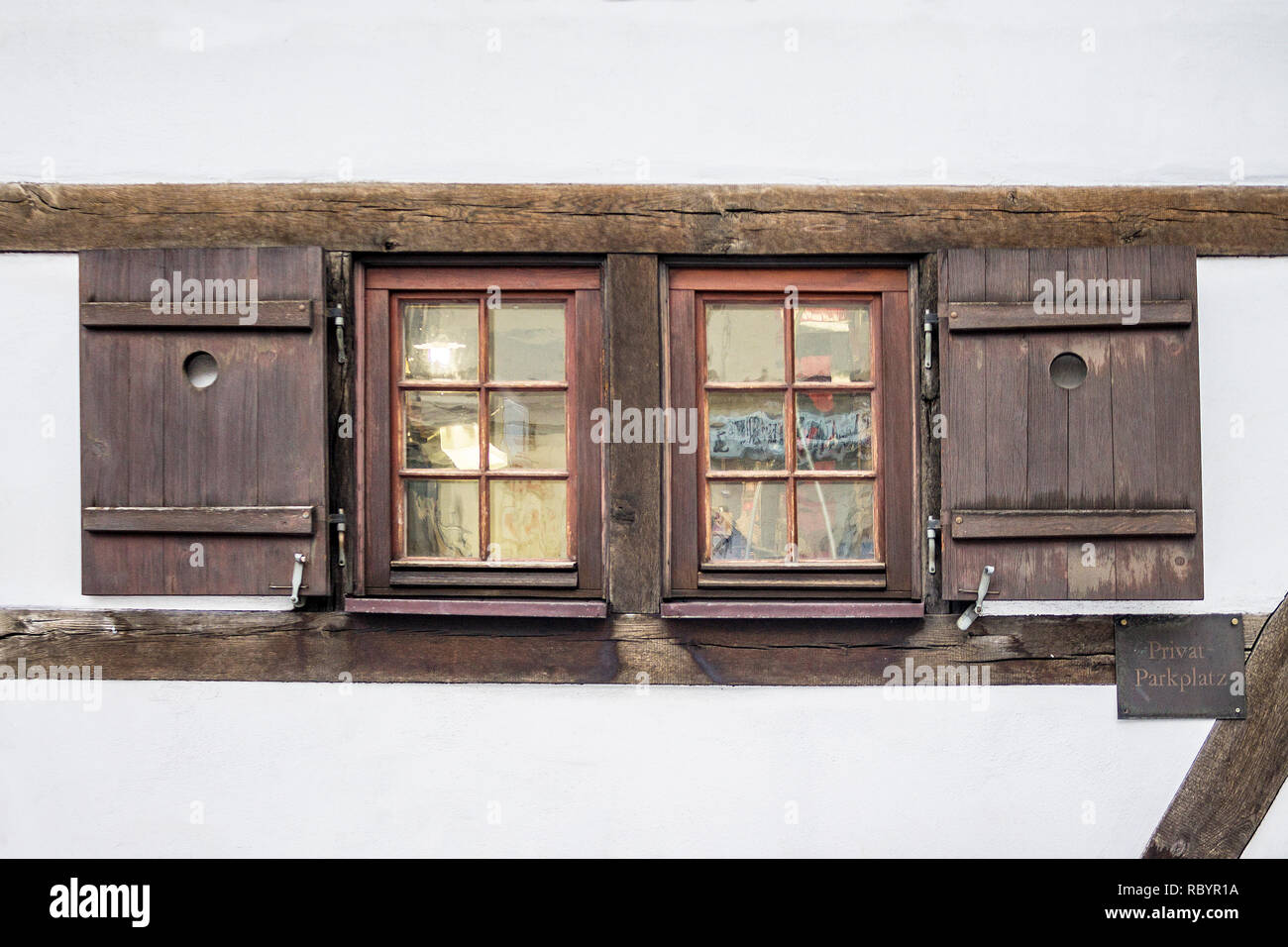 Old Ancient Wooden Window With Blinds Or Shutters Scenic