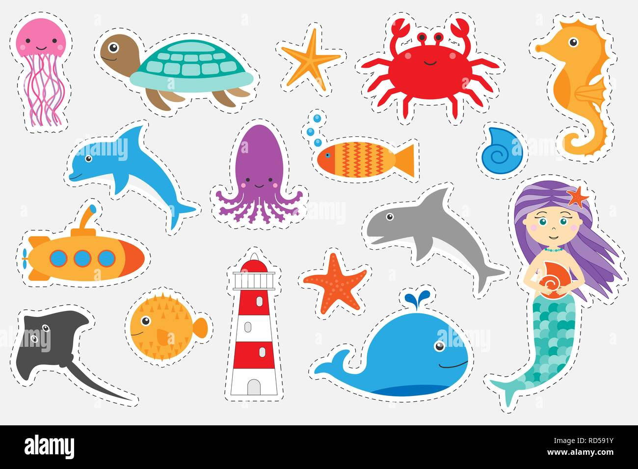 Different Colorful Pictures Of Ocean Animals For Children