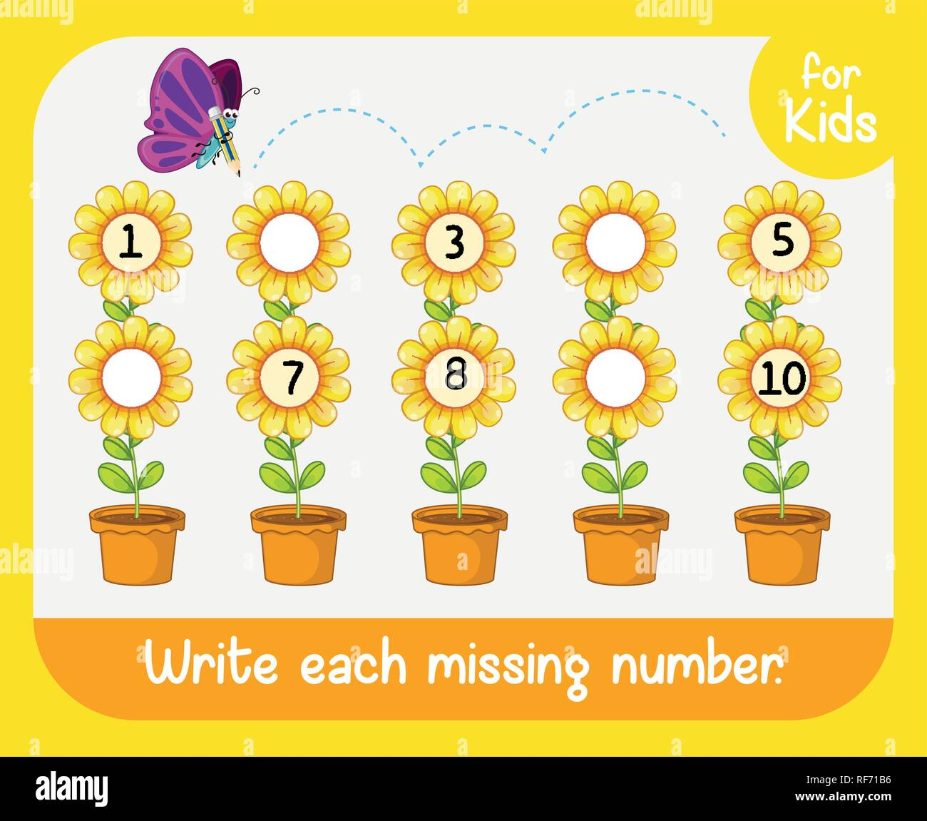 Write Missing Number Worksheet Illustration Stock Vector
