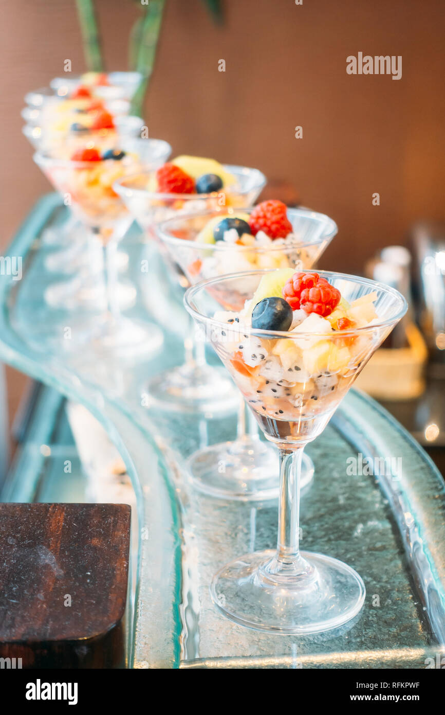 https www alamy com fruit in glass in catering buffet vintage filter image233389675 html