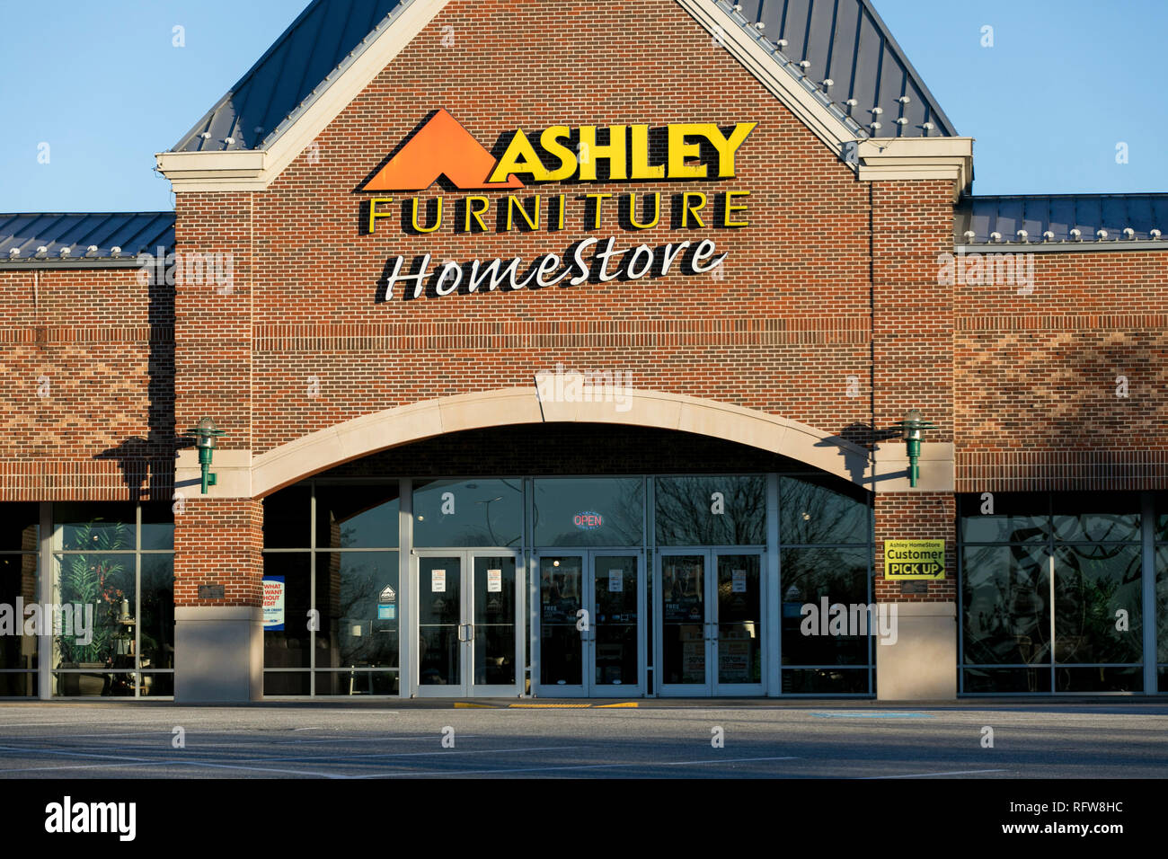 a logo sign outside of a ashley furniture homestore retail store in frederick maryland on january 22 2019