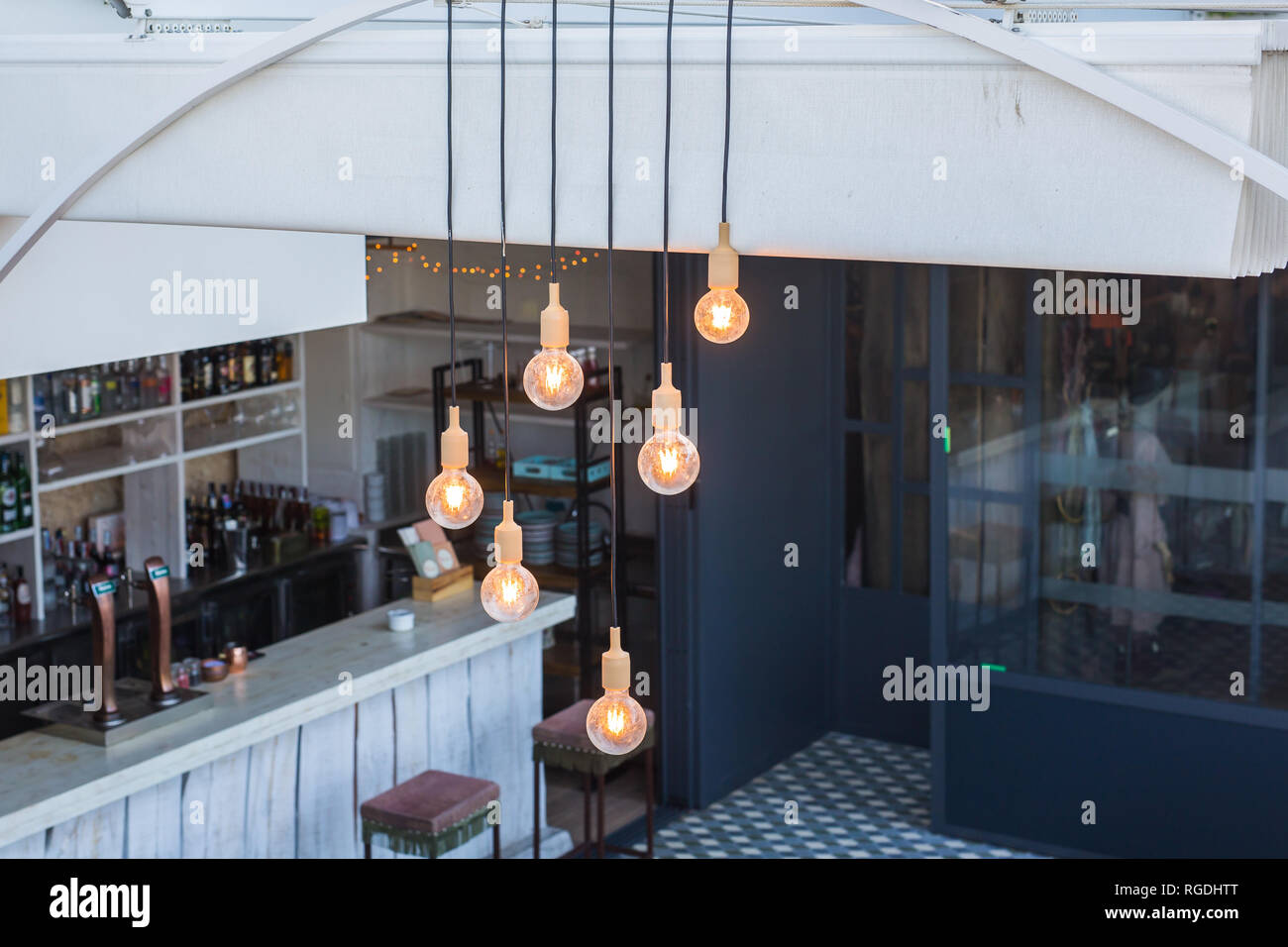 https www alamy com lighting and illumination concept vintage luxury interior lighting decor in cafe vintage light bulb lamps restaurant bar lighting interior design image233868680 html