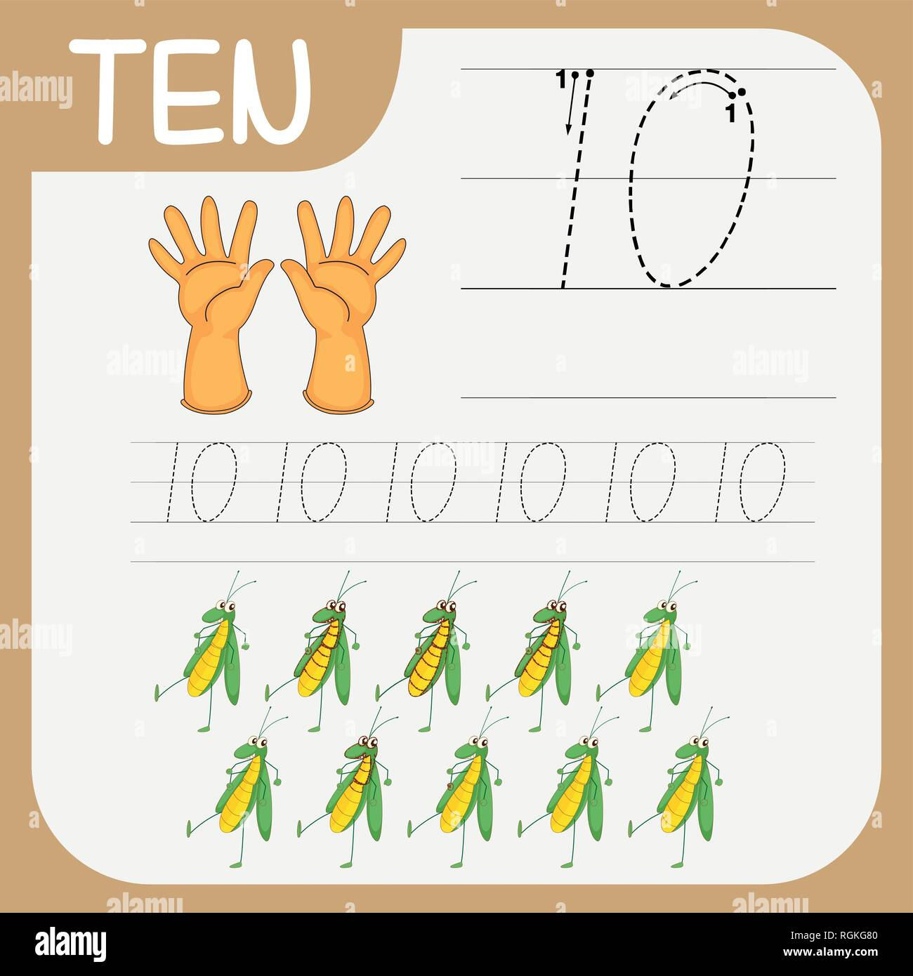 Number Ten Tracing Worksheets Illustration Stock Vector