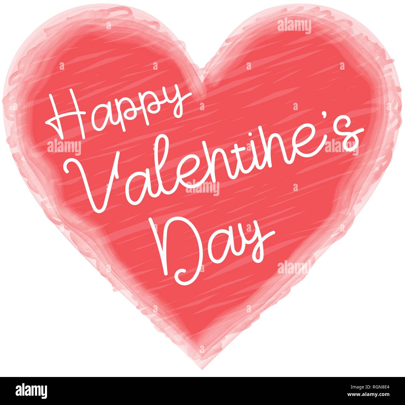 Happy Valentine S Day Greeting Card Template With Typography Text In Red Heart Shape With Lettering Isolated On White Background Stock Vector Image Art Alamy