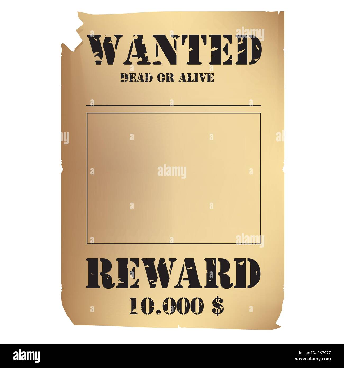 Vector Illustration Vintage Western Wanted Poster Template