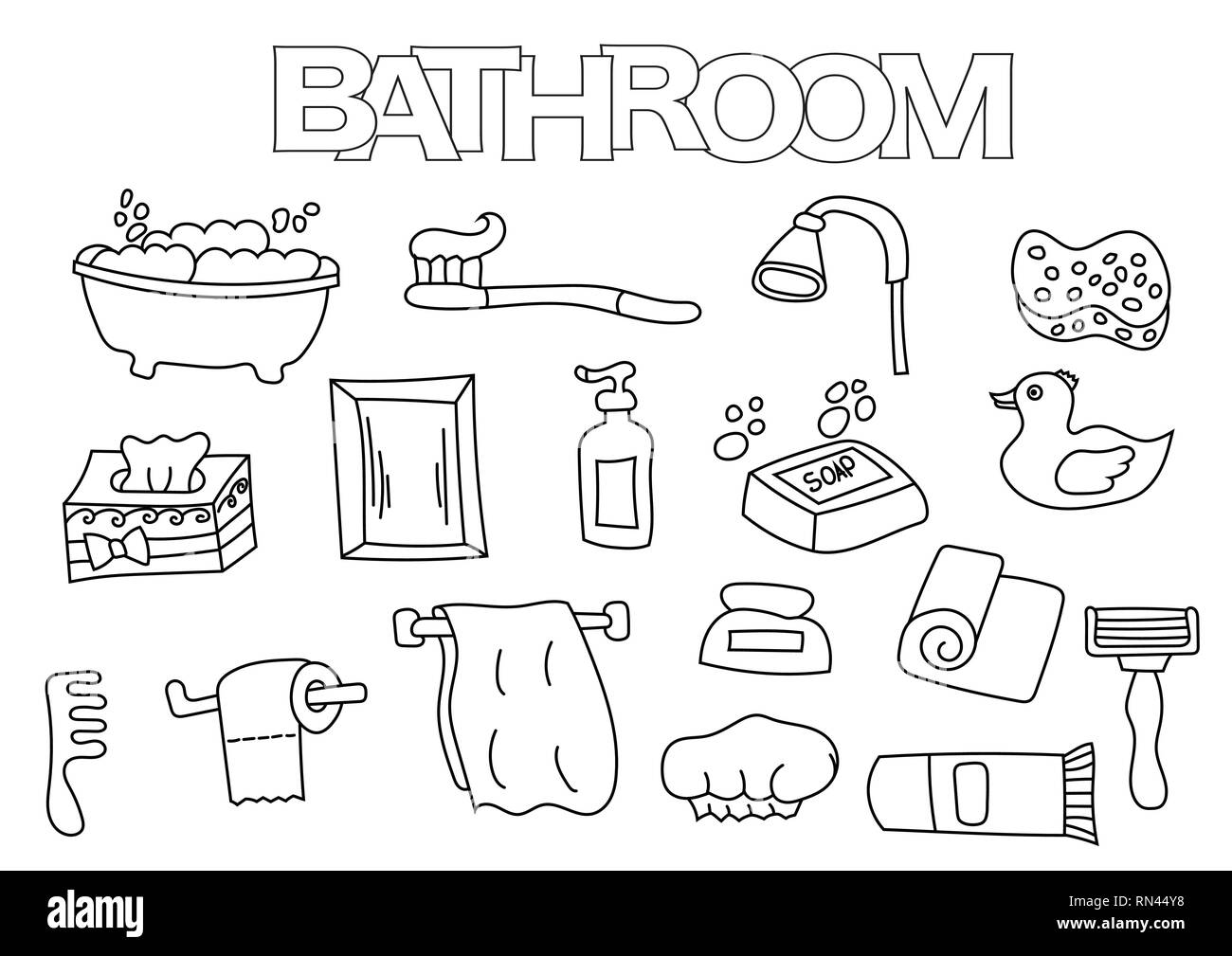 Bathroom Elements Hand Drawn Set Coloring Book Template