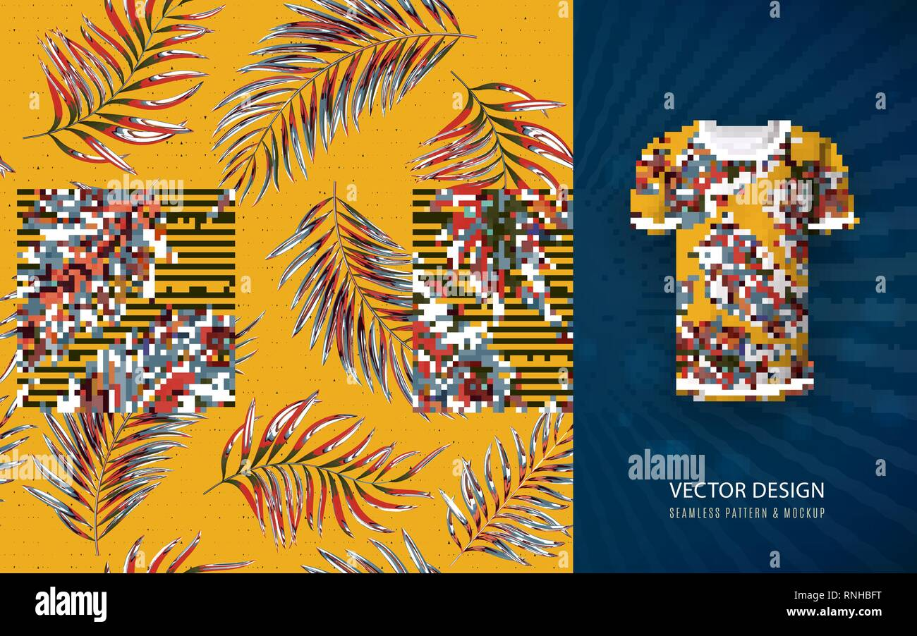 Designertale bringing you the most amazing product mockup psd templates every week. Tropical Aloha Pattern Vector Hawaiian Exotic Leaf Pattern On Shirt Mockup Vector Plants Seamless Background Yellow Stock Vector Image Art Alamy