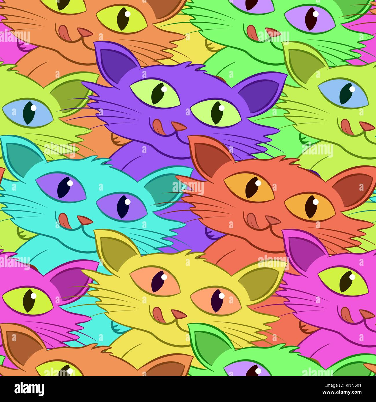 https www alamy com seamless background funny cartoon colorful cats tile pattern vector image237107473 html