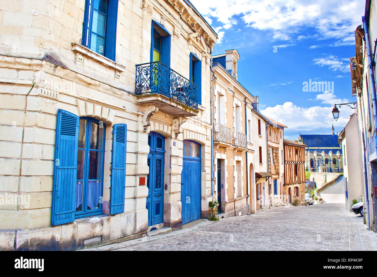 Solitary Rue De Chateau Street In Small Town Thouars France