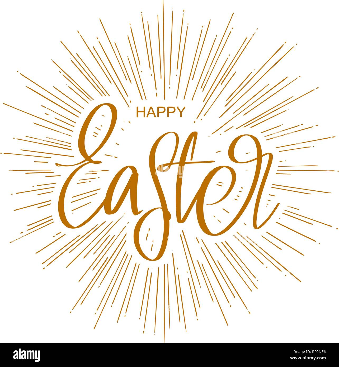 Happy Easter Holiday Religious Calligraphic Text Symbol Of Christianity Hand Drawn Vector Illustration Sketch Stock Vector Image Art Alamy