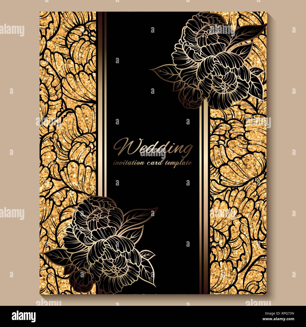 https www alamy com antique royal luxury wedding invitation card golden glitter background with frame and place for text black lacy foliage made of roses or peonies image237614041 html