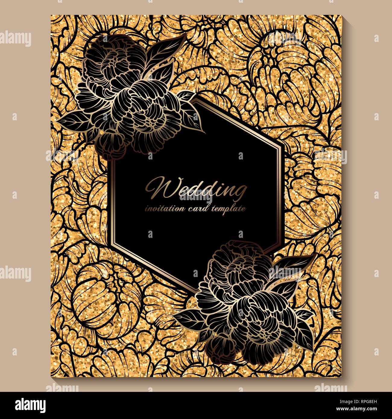 https www alamy com antique royal luxury wedding invitation card golden glitter background with frame and place for text black lacy foliage made of roses or peonies image237615129 html