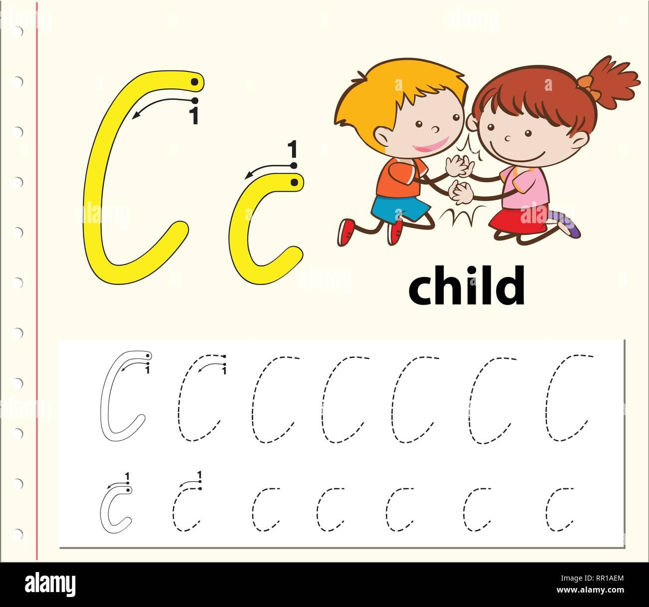 Letter C Tracing Alphabet Worksheets Illustration Stock
