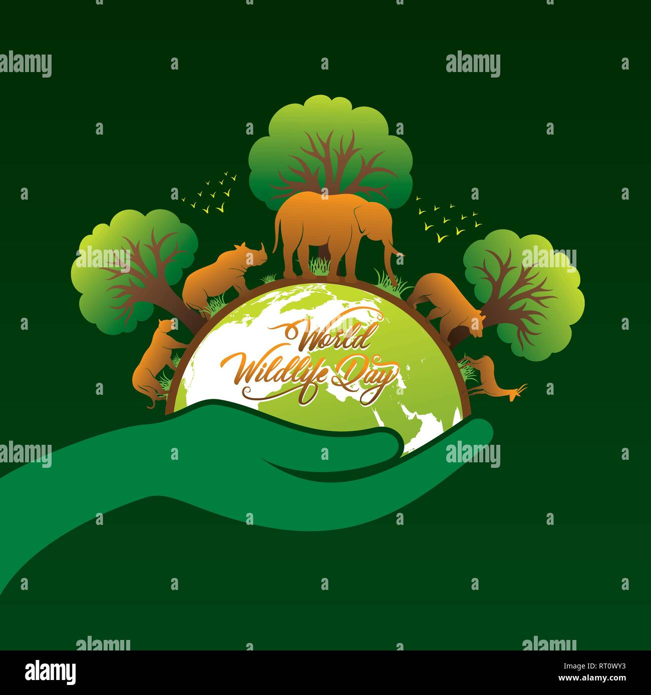 • they guard against erosion of land, damage of water sheds, floods and segmentation. World Wildlife Day Banner Design Animal In Forest Concept Stock Vector Image Art Alamy