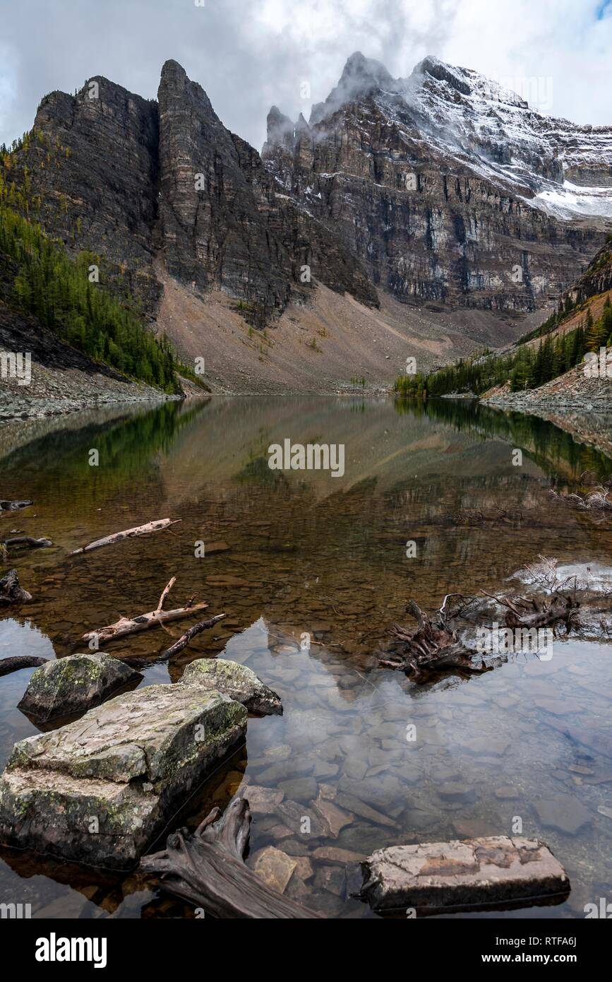 Turn right off the exit and continue up lake louise drive until reaching the fairmont chateau lake louise. Mountain Lake And Devils Thumb Lake Agnes Near Lake Louise Banff National Park Alberta Canada Stock Photo Alamy