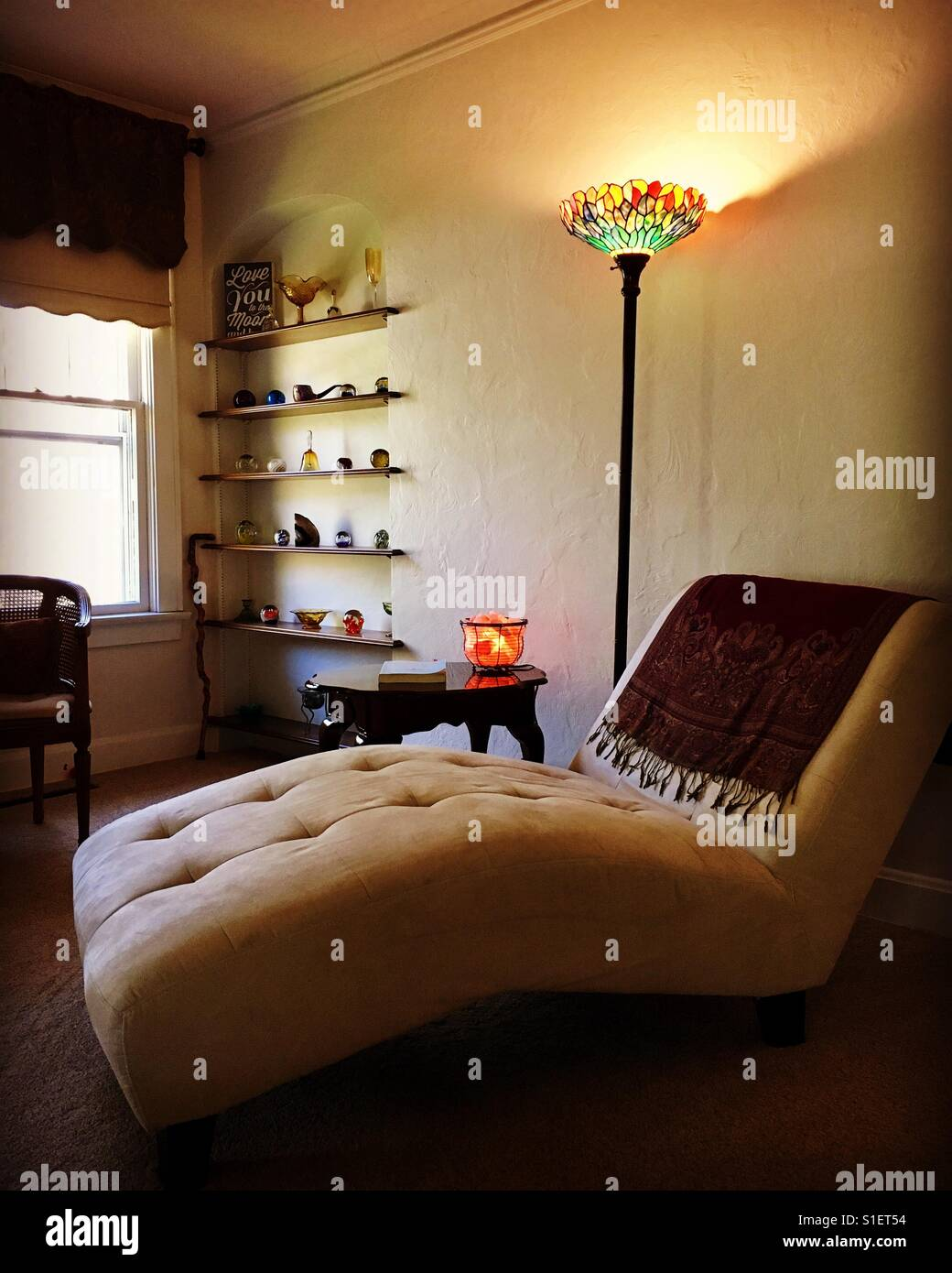 My Living Room Chaise Lounge Chair And Tiffany Lamp Built