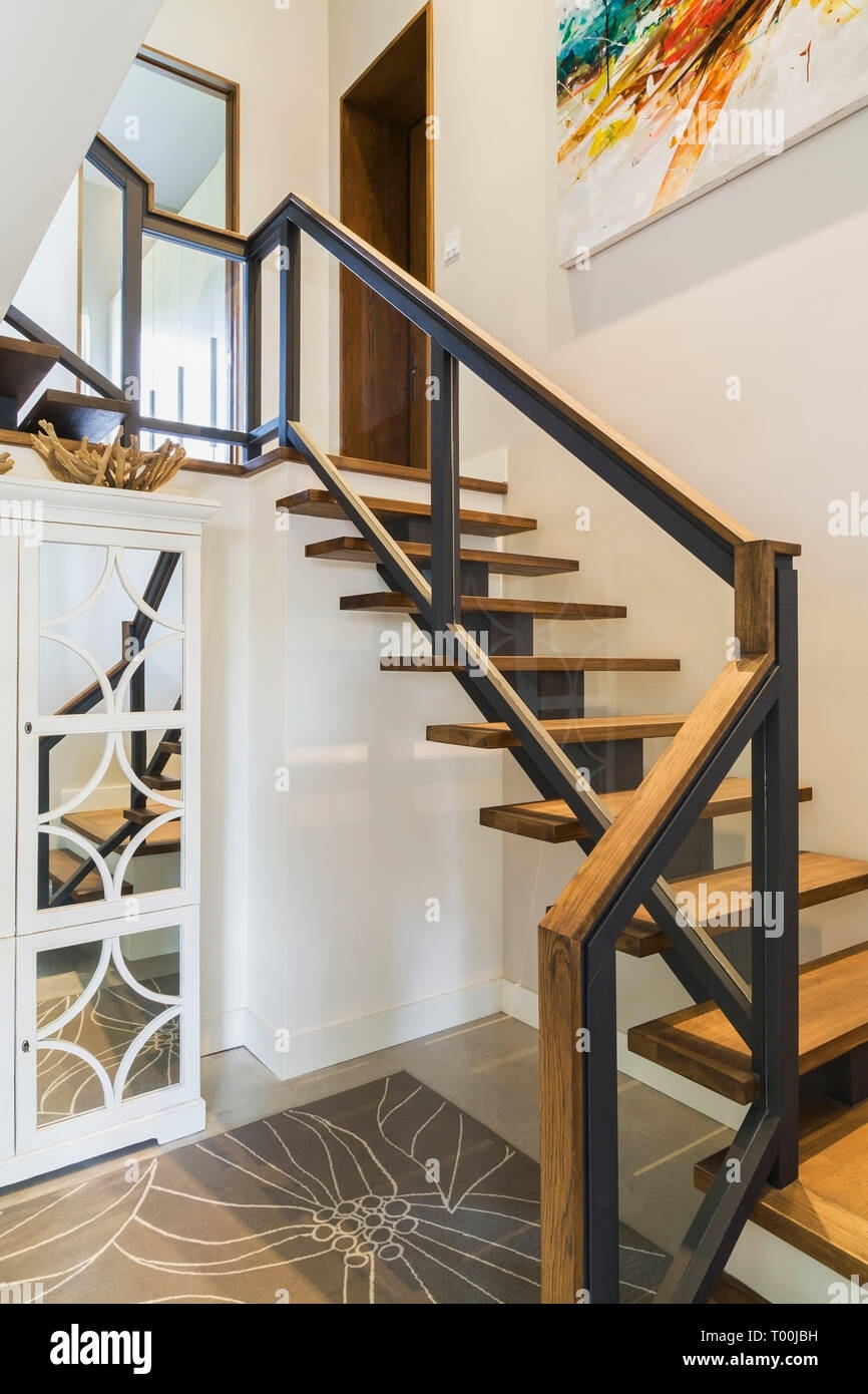 Hickory Wood Stairs With Black Metal And Wood Top Clear Glass | Wood And Metal Handrail | Interior | Iron Railing | Architectural Modern Wood Stair | Stainless Steel | Traditional