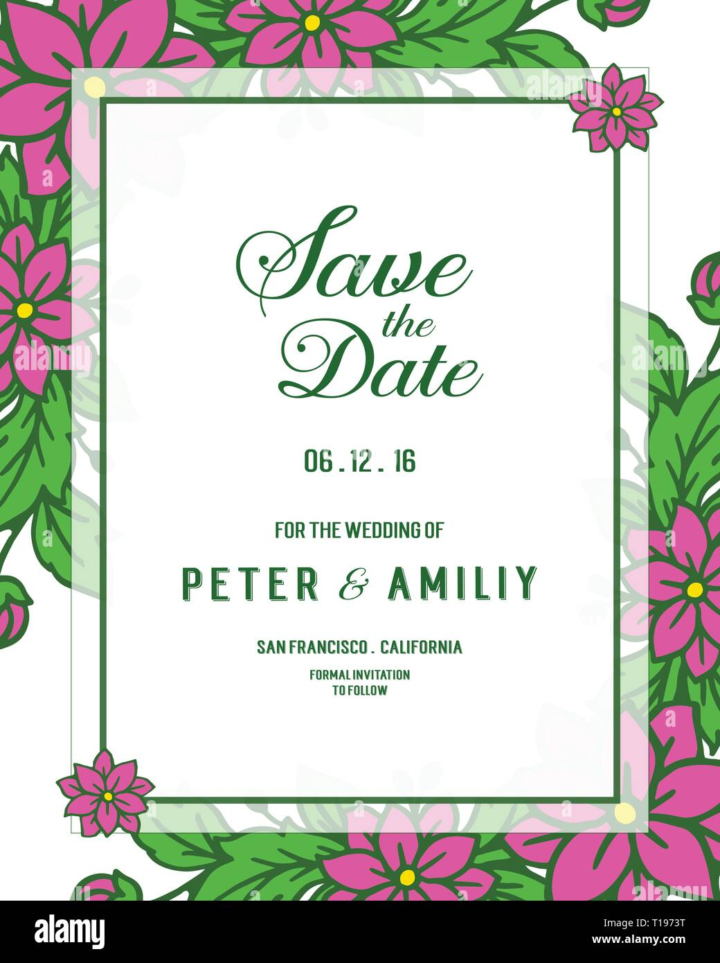 https www alamy com vector illustration wedding invitation card save the date with leaf flower frames blooms hand drawn image241762972 html