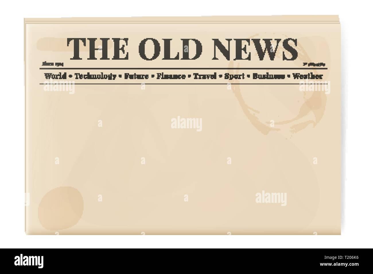 Blank Template Of A Retro Newspaper Folded Cover Page Of