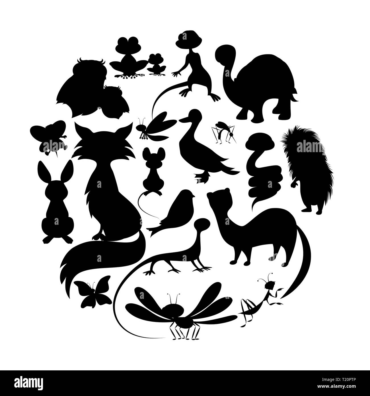 Vector Illustration Hedgehog Cartoon Black And White Stock
