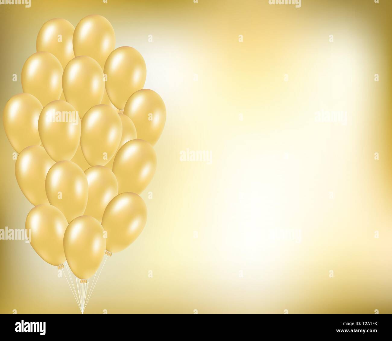 https www alamy com gold festive vector background with golden balloons in bunch elegant concept for party birthday anniversary holidays wedding invitation card po image242395214 html