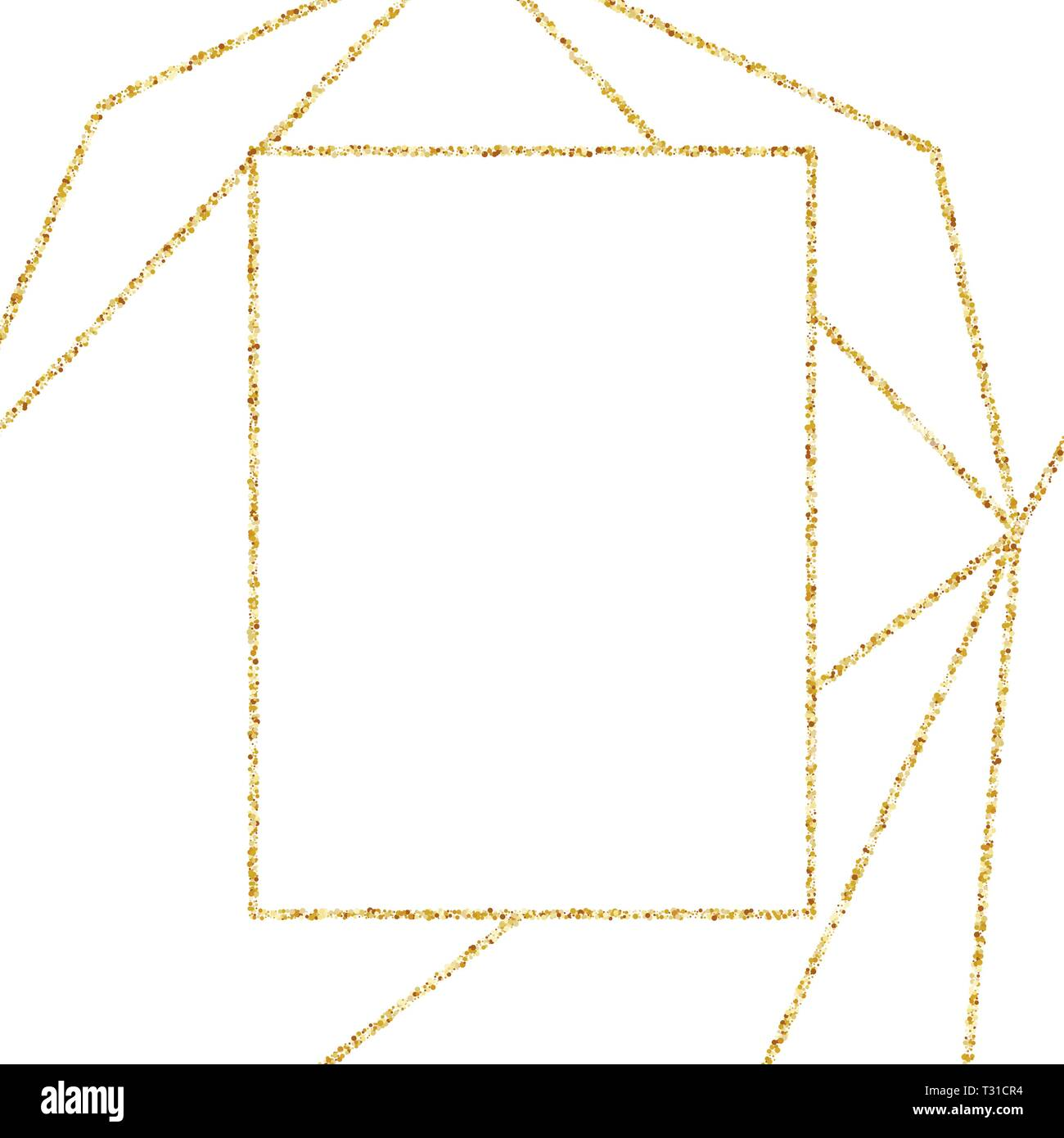 https www alamy com geometric gold frame for wedding or birthday invitation background vector modern design template for brochure poster or greetina card art deco image242821128 html