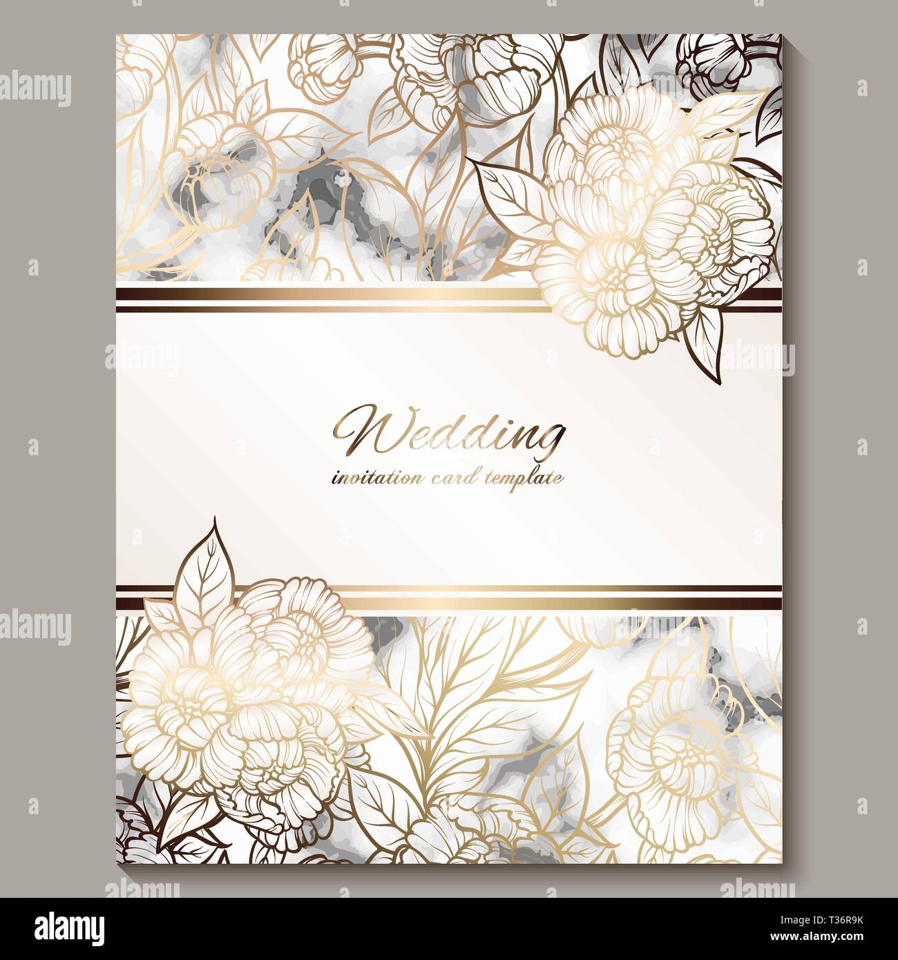 https www alamy com luxury and elegant wedding invitation cards with marble texture and gold glitter background modern wedding invitation decorated with peony flowers image242939135 html