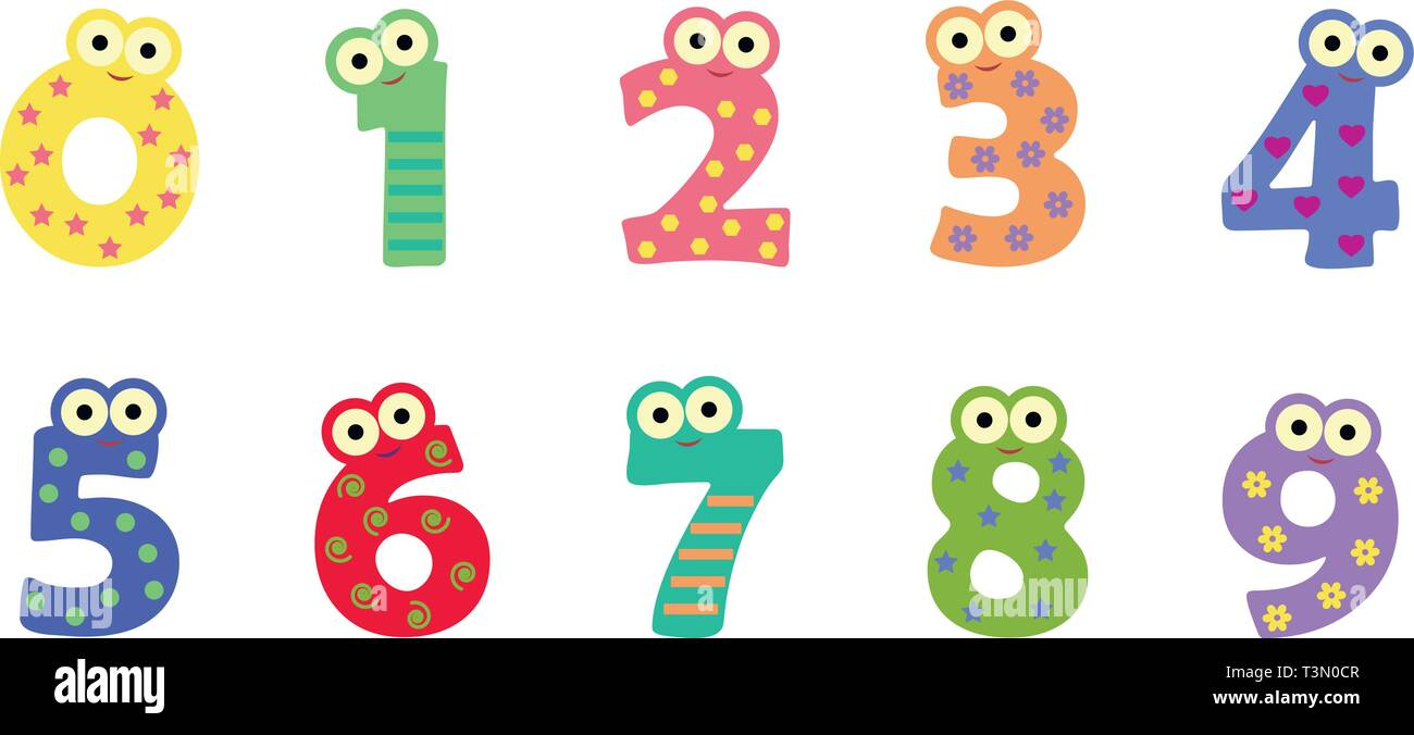 Funny Monsters Numbers Clipart Stock Vector Image Art Alamy
