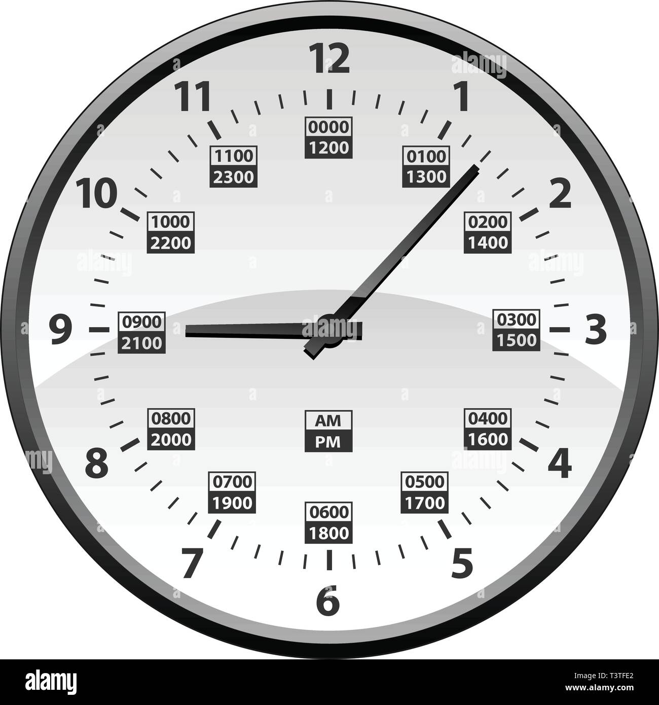 12 To 24 Hour Military Time Clock Conversion Isolated
