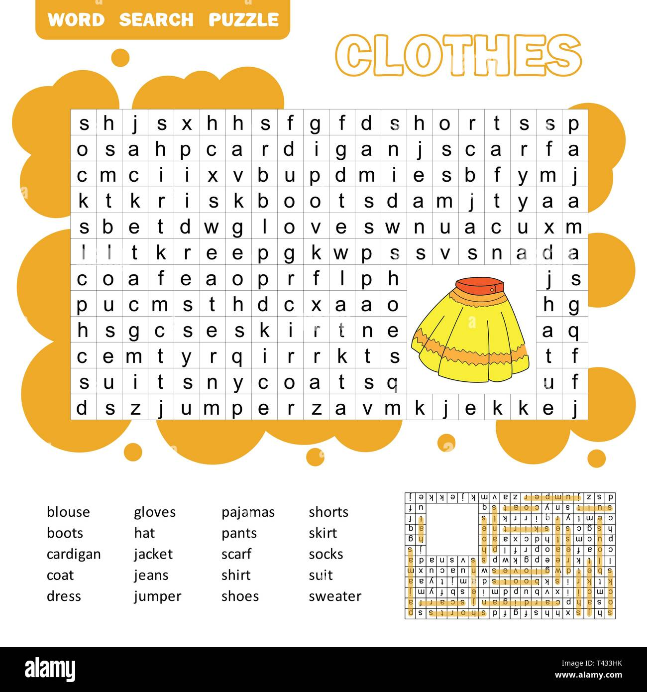 Educational Game For Kids Word Search Puzzle With Clothes