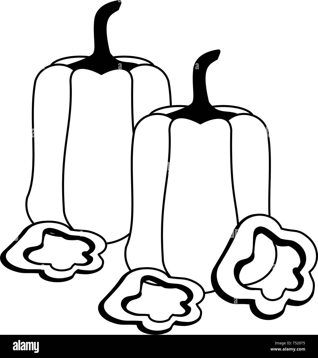Black White Cartoon Illustration Pepper Black And White