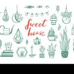 Home Decor And House Plants Vector Hand Drawn Set Home Decorations And Interior Design Elements Isolated Boho And Scandinavian Cartoon Sketches Stock Vector Image Art Alamy