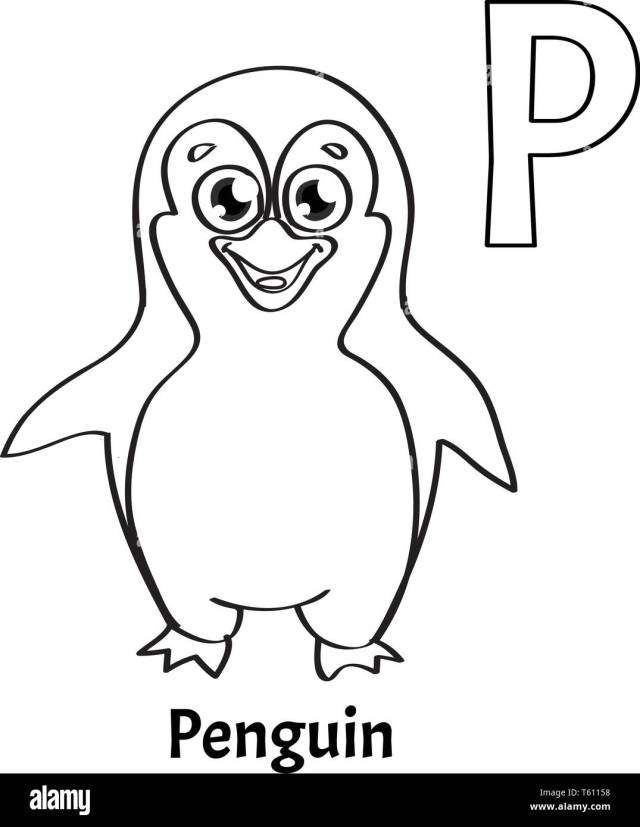 Vector alphabet letter P, coloring page. Penguin Stock Vector