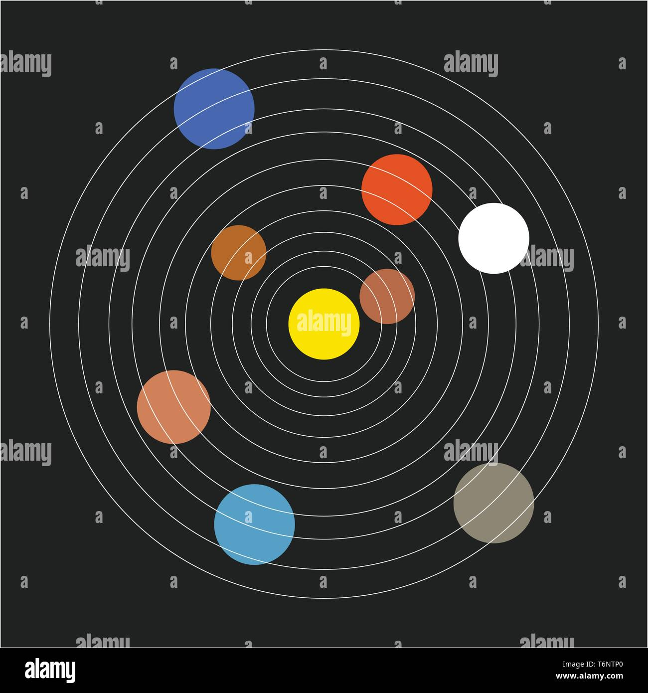 The Basic Minimalistic Form Of The Solar System In A Range Of Colors Without Decoration Set Over Black Background Vector Color Drawing Or Illustrati Stock Vector Image Art Alamy