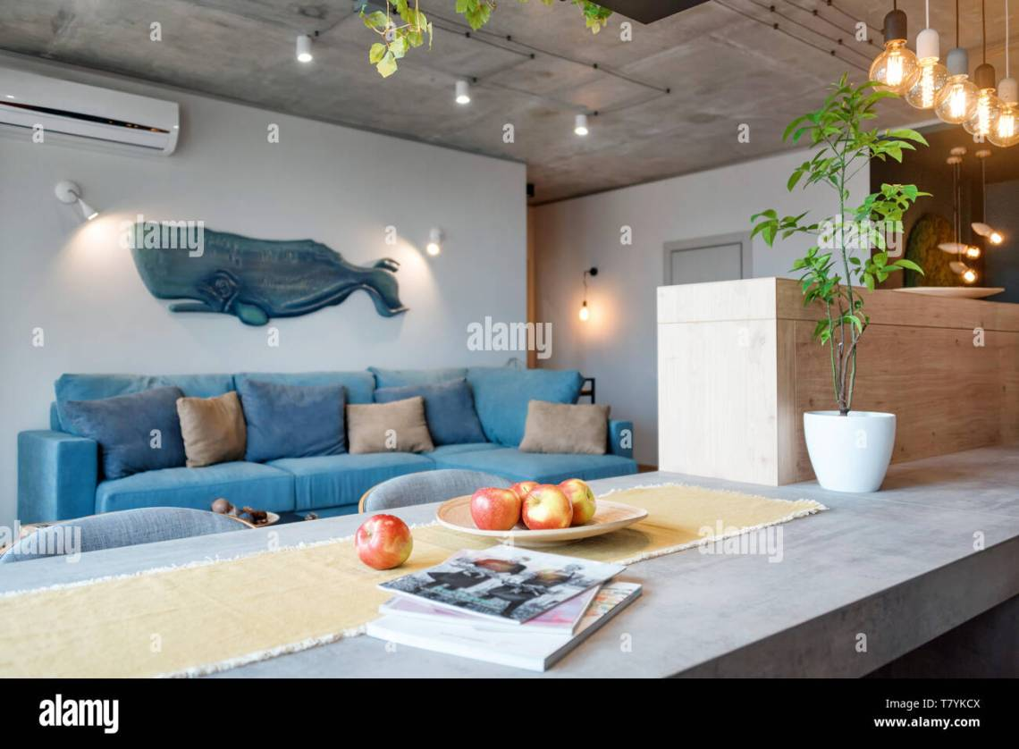 Minimalist Modern Living Room With Sofa In Loft Style Flat Modern Loft With Kitchen And Living Room Open Space Interior In Scandinavian Style With Stock Photo Alamy