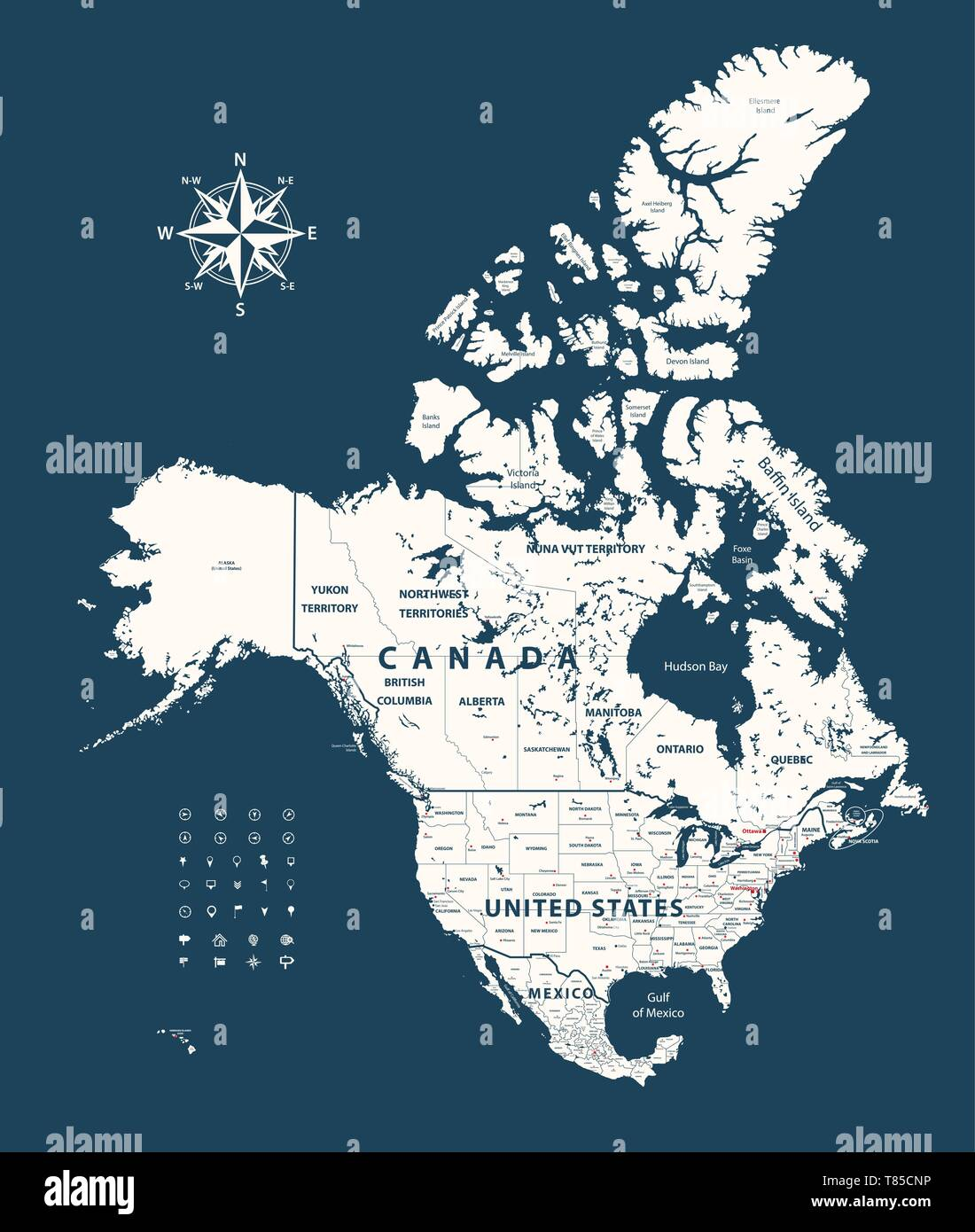 Vector Map Of Canada United States And Mexico With States Borders And Capital Cities Stock Vector Image Art Alamy