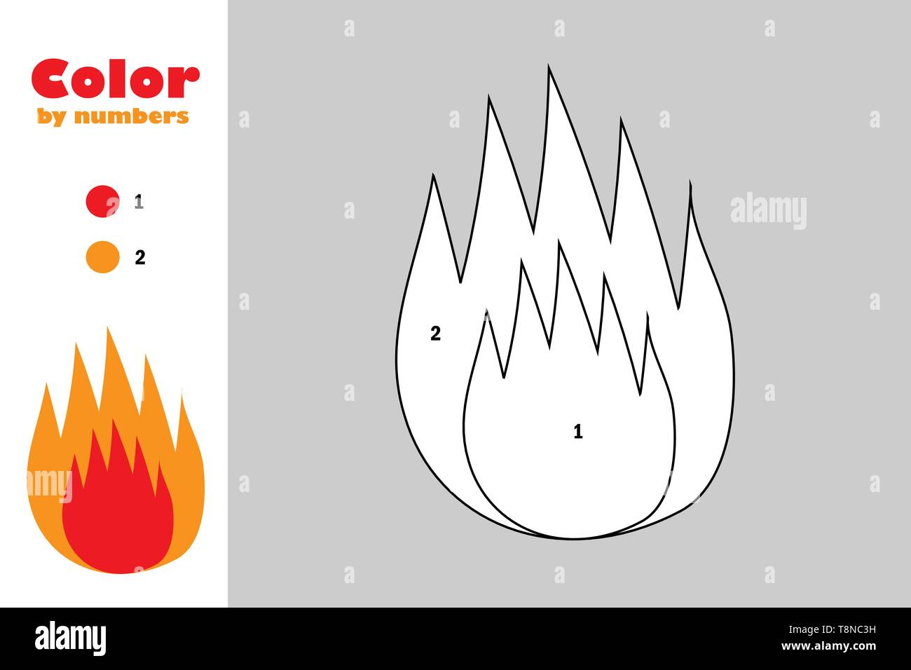 Fire In Cartoon Style Color By Number Education Paper