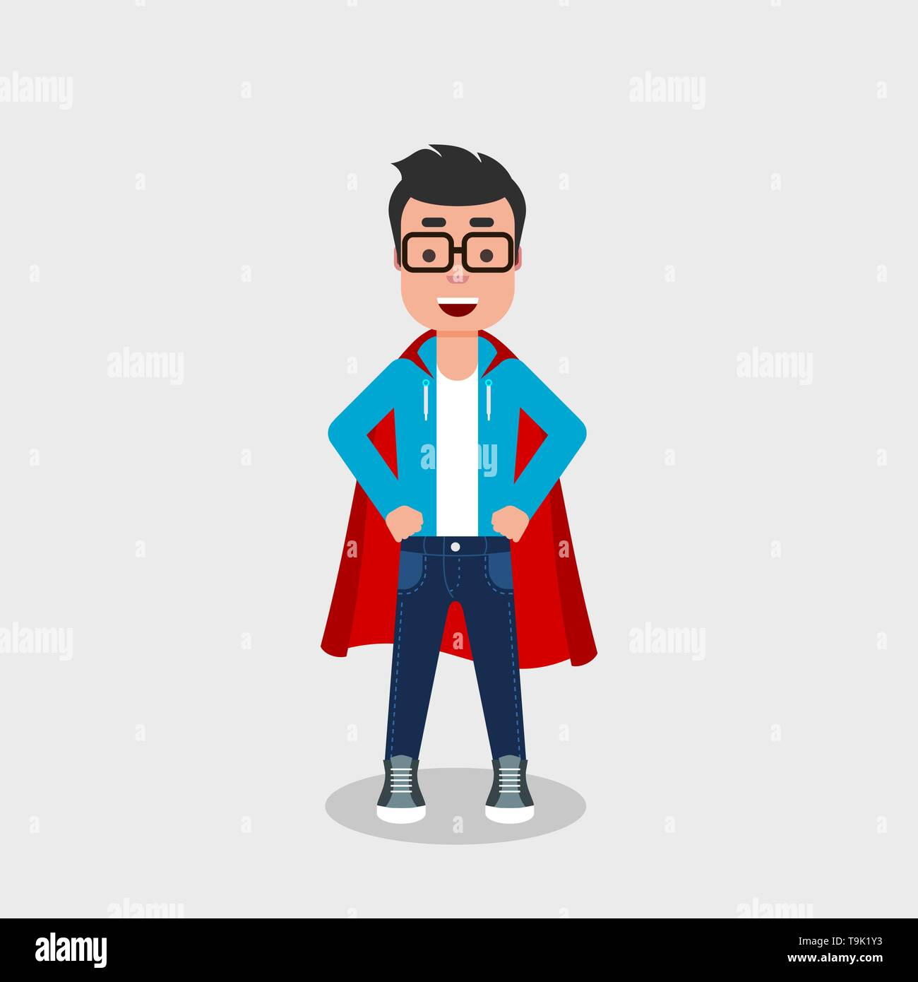 Young Cheerful Man Wearing A Superhero Costume Self