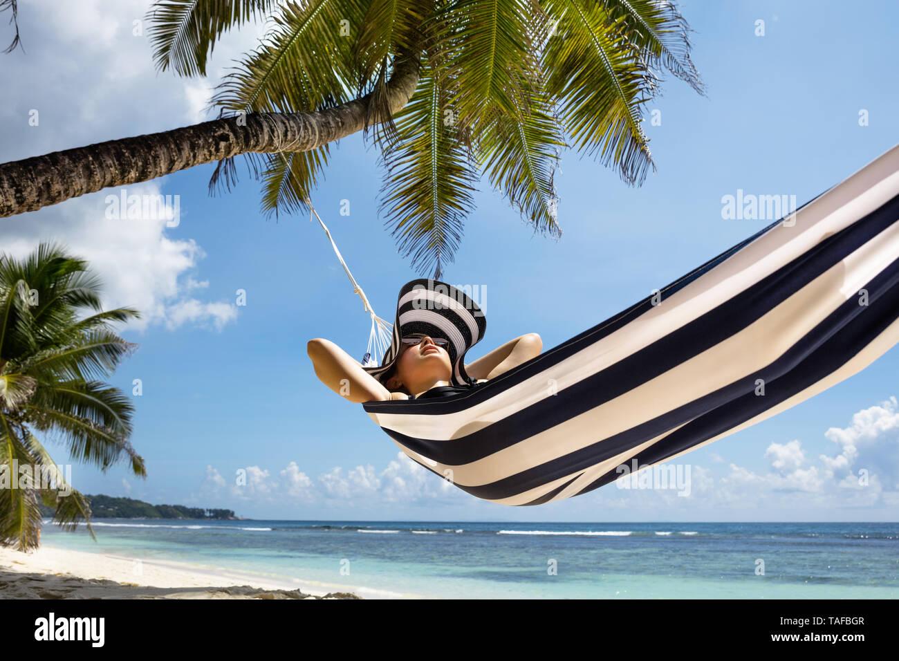 Relaxing Hammock On Island Beach Stock Photos Amp Relaxing