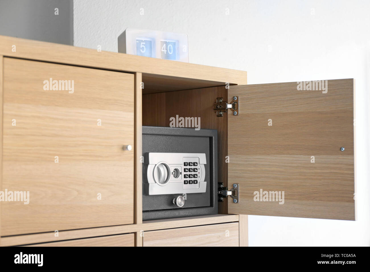 Modern Small Safe In Cabinet Stock Photo Alamy