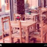 Retro Vintage View Of Pastel Coffee Shop With Wooden Tables And Chairs In Balat Old Town Of Istanbul Turkey Outdoor Cafe Photo In Vintage Image Stock Photo Alamy