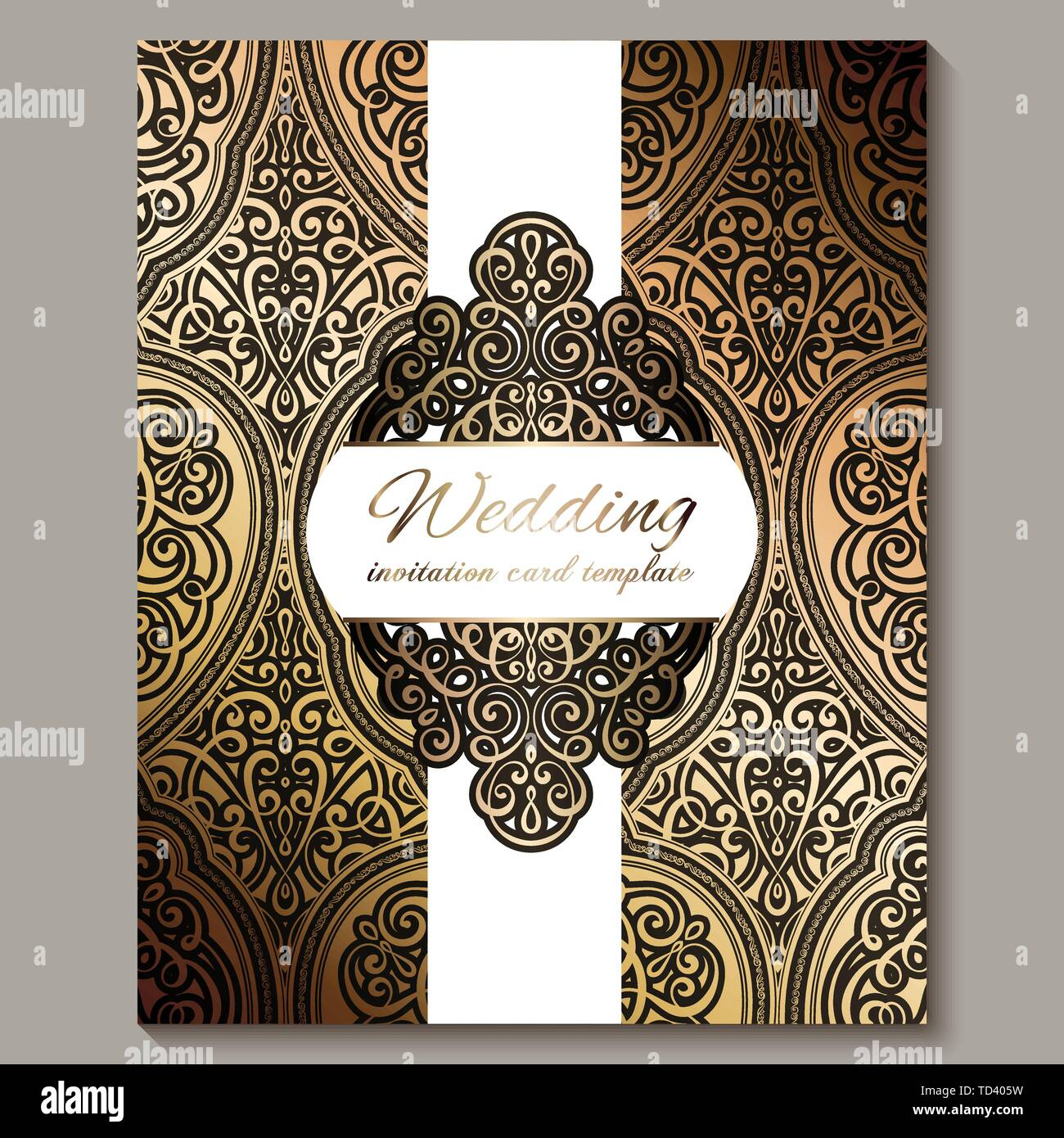 https www alamy com wedding invitation card with black and gold shiny eastern and baroque rich foliage ornate islamic background for your design islam arabic indian image249023653 html