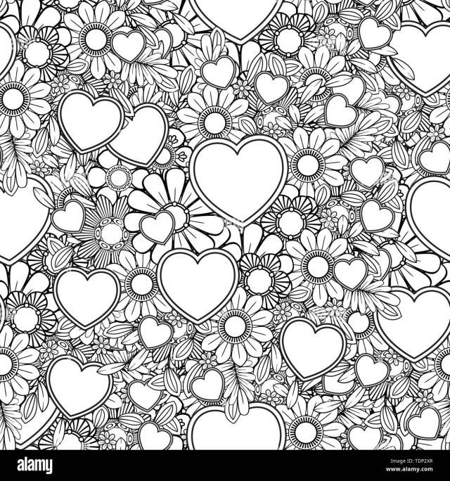 Valentines day seamless pattern with hearts and flowers. Coloring