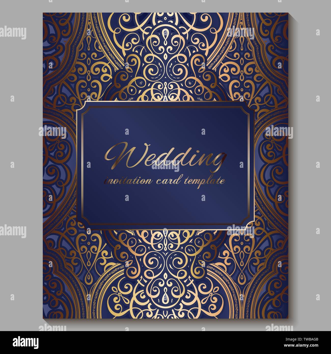 https www alamy com wedding invitation card with gold shiny eastern and baroque rich foliage royal blue ornate islamic background for your design islam arabic indian image256561323 html
