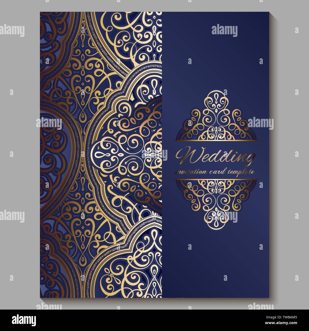 https www alamy com wedding invitation card with gold shiny eastern and baroque rich foliage royal blue ornate islamic background for your design islam arabic indian image256561429 html